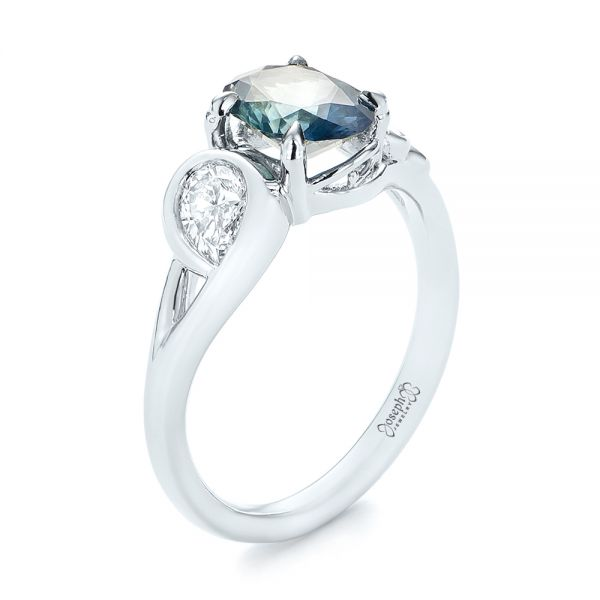 Custom Blue-Green Sapphire and Diamond Engagement Ring - Image