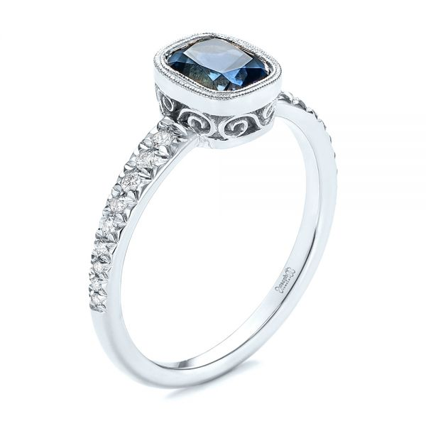 14k White Gold 14k White Gold Custom Blue-green Sapphire And Diamond Engagement Ring - Three-Quarter View -
