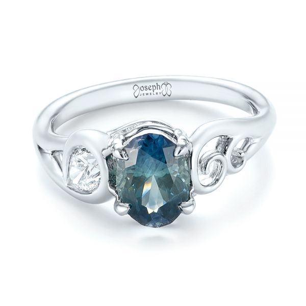 Platinum Custom Blue-green Sapphire And Diamond Engagement Ring - Flat View -