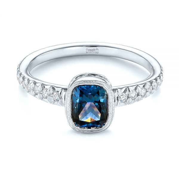14k White Gold 14k White Gold Custom Blue-green Sapphire And Diamond Engagement Ring - Flat View -