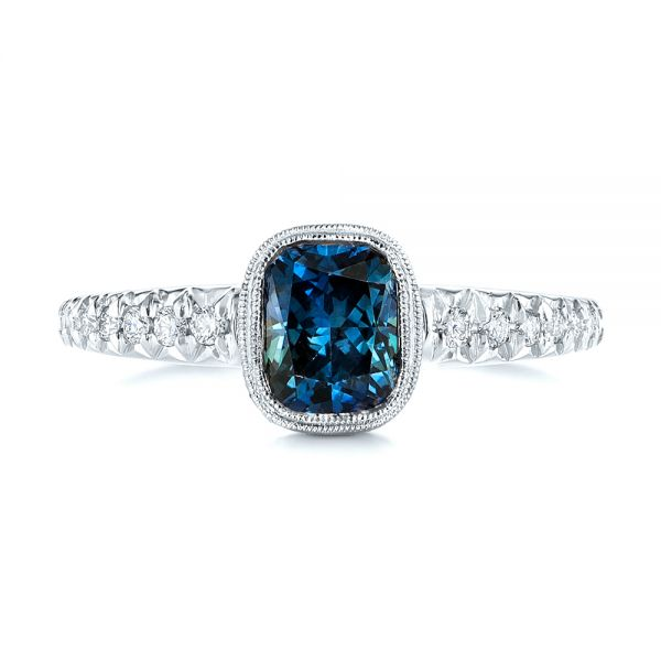 14k White Gold 14k White Gold Custom Blue-green Sapphire And Diamond Engagement Ring - Top View -