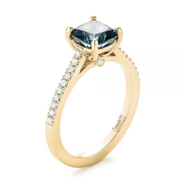 18k Yellow Gold 18k Yellow Gold Custom Blue-green Sapphire And Diamond Engagement Ring - Three-Quarter View -