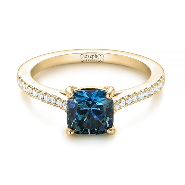 18k Yellow Gold 18k Yellow Gold Custom Blue-green Sapphire And Diamond Engagement Ring - Flat View -