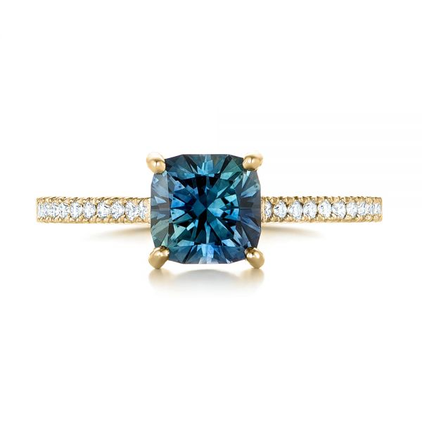 18k Yellow Gold 18k Yellow Gold Custom Blue-green Sapphire And Diamond Engagement Ring - Top View -