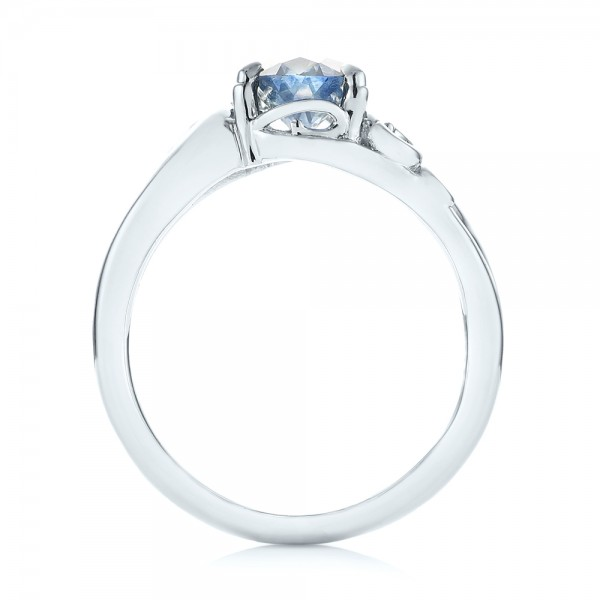 Custom Blue-Green Sapphire and Diamond Engagement Ring - Finger Through View