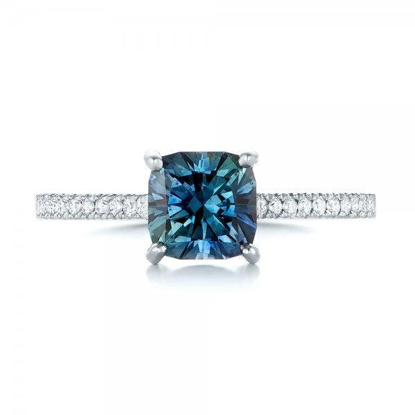 14k White Gold 14k White Gold Custom Blue-green Sapphire And Diamond Engagement Ring - Top View -  103590