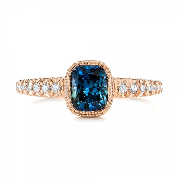 Custom Blue-Green Sapphire and Diamond Engagement Ring - Top View