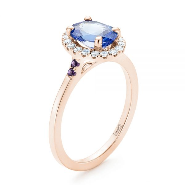14k Rose Gold 14k Rose Gold Custom Blue Sapphire Amethyst And Diamond Halo Engagement Ring - Three-Quarter View -