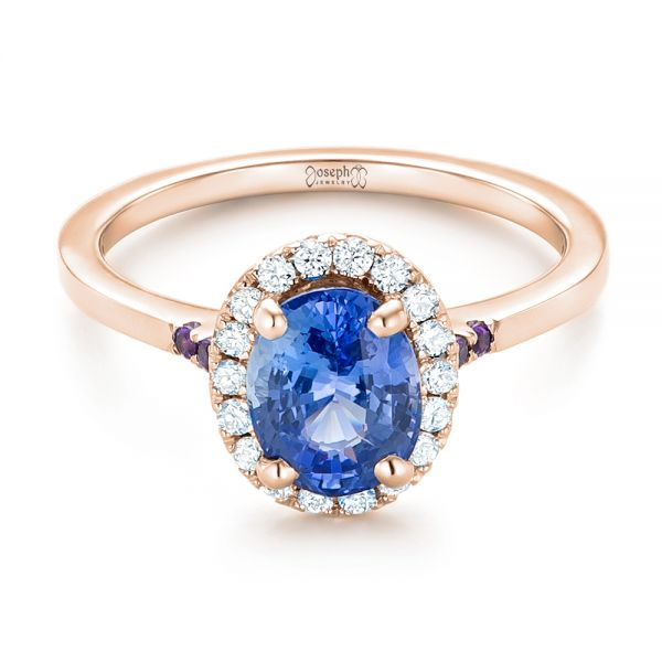 14k Rose Gold 14k Rose Gold Custom Blue Sapphire Amethyst And Diamond Halo Engagement Ring - Flat View -