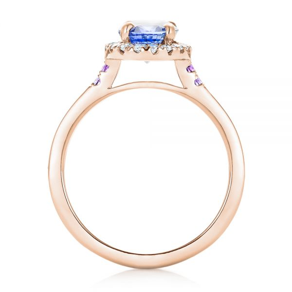 14k Rose Gold 14k Rose Gold Custom Blue Sapphire Amethyst And Diamond Halo Engagement Ring - Front View -