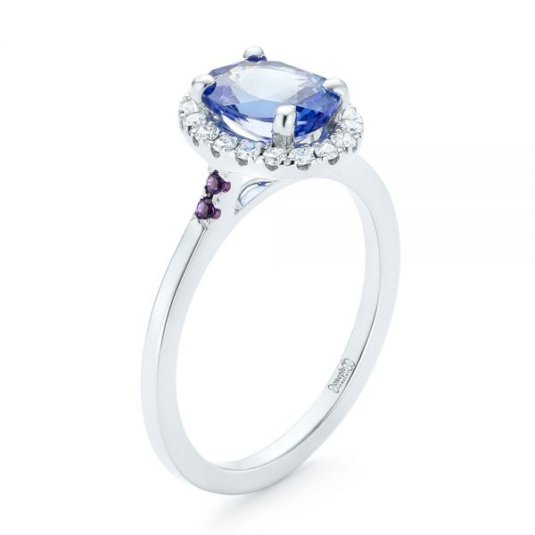 Custom Blue Sapphire, Amethyst and Diamond Halo Engagement Ring - Image