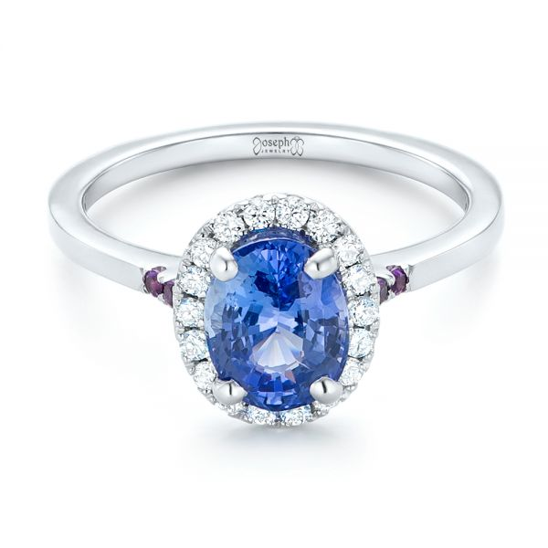 Custom Blue Sapphire, Amethyst and Diamond Halo Engagement Ring - Flat View -  102892 - Thumbnail