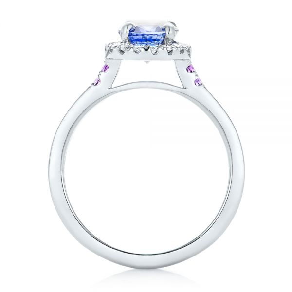 Custom Blue Sapphire, Amethyst and Diamond Halo Engagement Ring - Front View -  102892 - Thumbnail