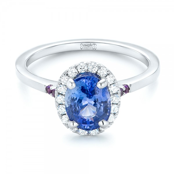 Custom Blue Sapphire, Amethyst and Diamond Halo Engagement Ring
