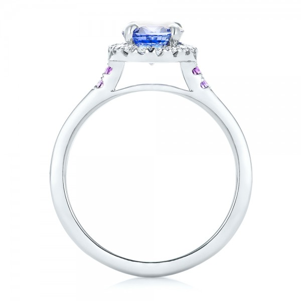 Custom Blue Sapphire, Amethyst and Diamond Halo Engagement Ring - Finger Through View