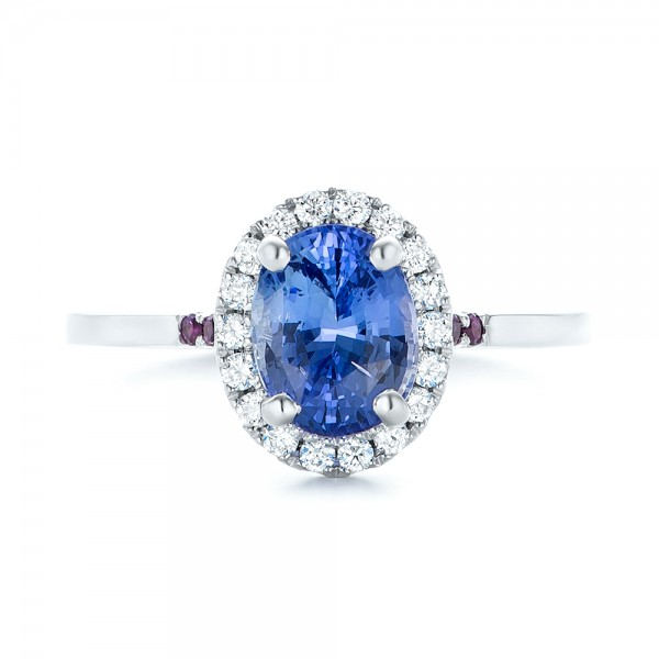 Custom Blue Sapphire, Amethyst and Diamond Halo Engagement Ring - Top View