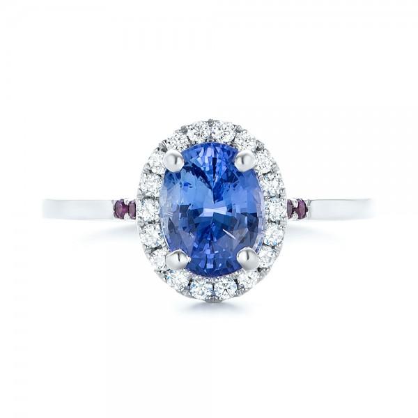 custom blue sapphire amethyst and halo engagement