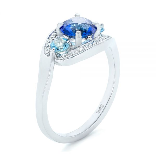 Custom Blue Sapphire, Aquamarine and Diamond Engagement Ring - Image