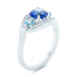 Custom Blue Sapphire, Aquamarine and Diamond Engagement Ring