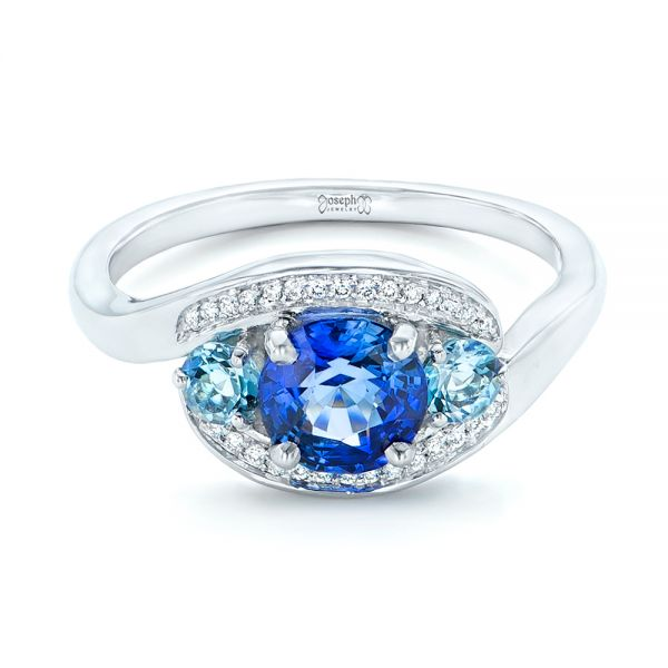 14k White Gold Custom Blue Sapphire Aquamarine And Diamond Engagement Ring - Flat View -