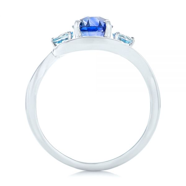 Custom Blue Sapphire, Aquamarine and Diamond Engagement Ring - Front View -  102782 - Thumbnail