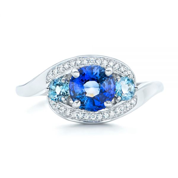 Custom Blue Sapphire, Aquamarine and Diamond Engagement Ring - Top View -  102782 - Thumbnail