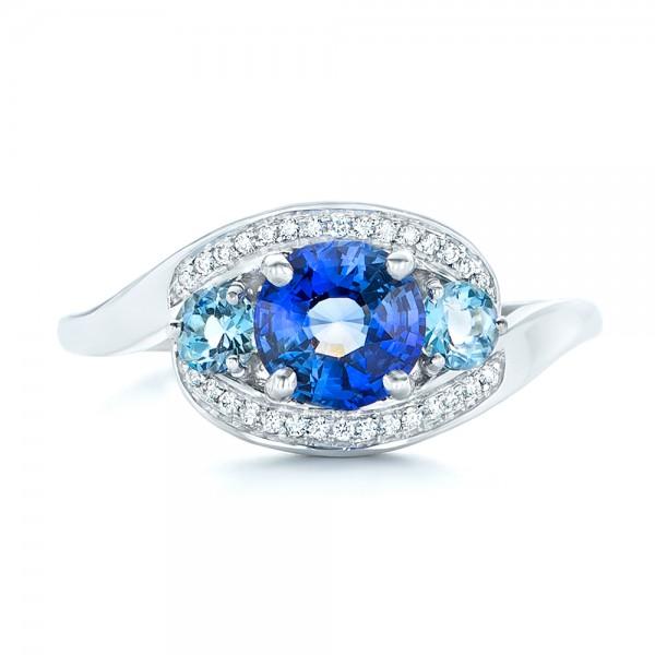 Custom Blue Sapphire Aquamarine And Diamond Engagement Ring