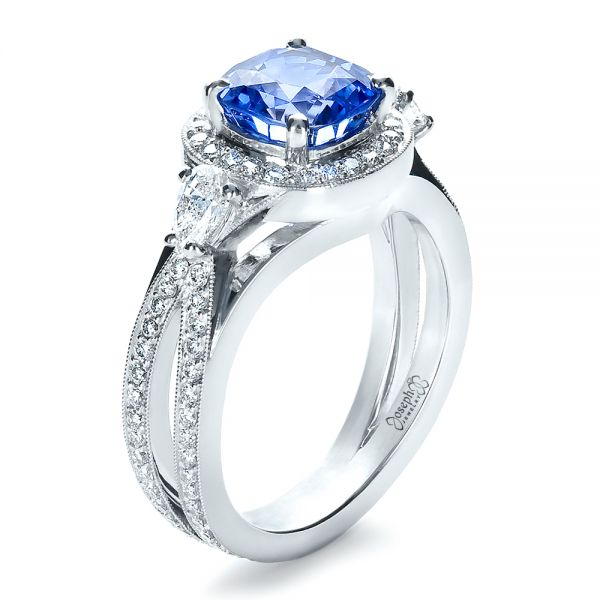 Platinum Custom Blue Sapphire Engagement Ring - Three-Quarter View -