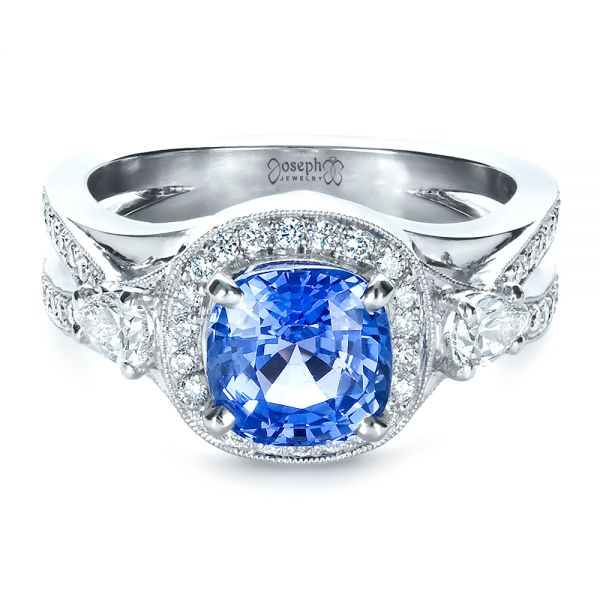 Platinum Custom Blue Sapphire Engagement Ring - Flat View -