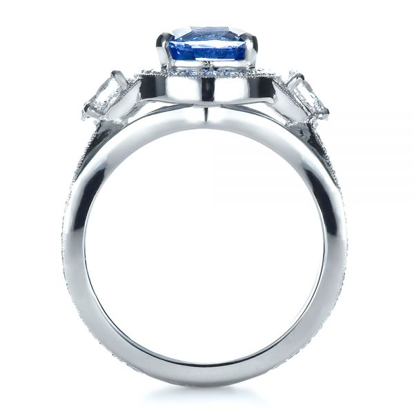 Platinum Custom Blue Sapphire Engagement Ring - Front View -