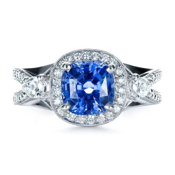 Custom Blue Sapphire Engagement Ring - Image