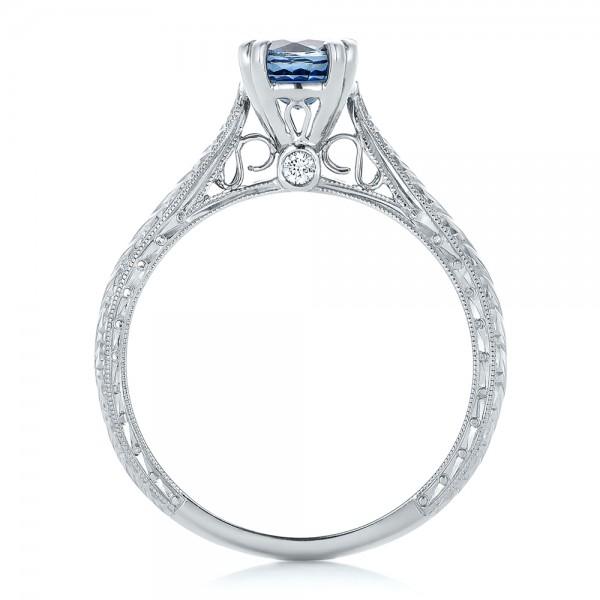 Custom Blue Sapphire Engagement Ring - Finger Through View