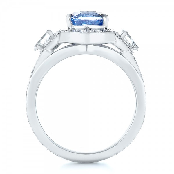 Custom Blue Sapphire Engagement Ring - Front View -  1432 - Thumbnail