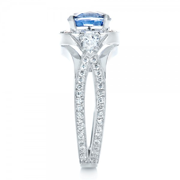 Custom Blue Sapphire Engagement Ring - Side View -  1432 - Thumbnail