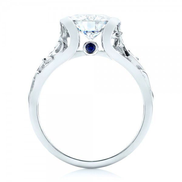 18k White Gold Custom Blue Sapphire Ruby And Diamond Engagement Ring - Front View -