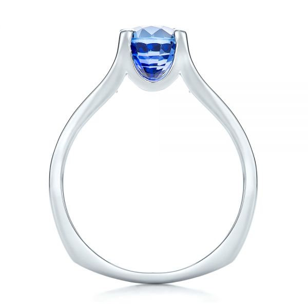 Custom Blue Sapphire and Channel Set Diamonds Engagement Ring - Front View -  102102 - Thumbnail