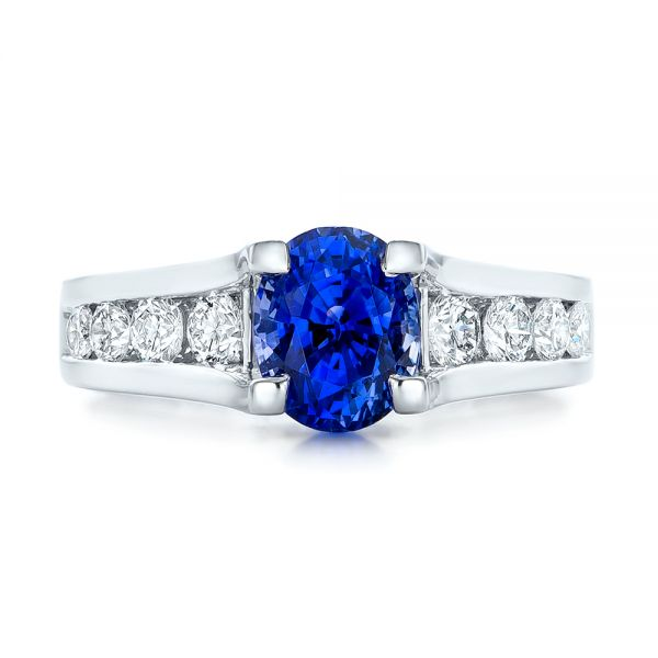 Custom Blue Sapphire and Channel Set Diamonds Engagement Ring - Top View -  102102 - Thumbnail
