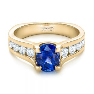 Custom Blue Sapphire and Channel Set Diamonds Engagement Ring