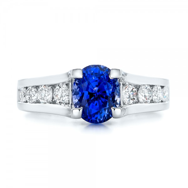 Custom Blue Sapphire and Channel Set Diamonds Engagement Ring - Top View