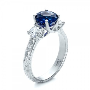 Custom Blue Sapphire and Diamond Anniversary Ring
