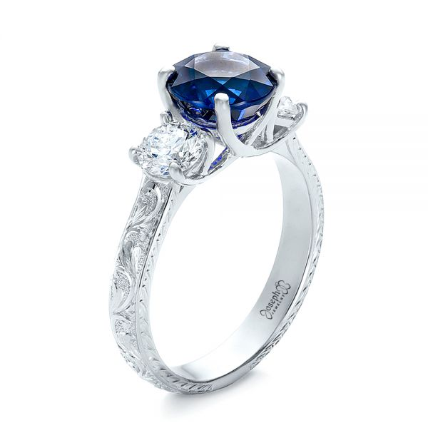 14K White Gold Custom Blue Sapphire and Diamond Anniversary Ring - Three-Quarter View -  100603 - Thumbnail