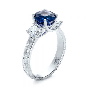 Custom Blue Sapphire and Diamond Anniversary Ring - Image