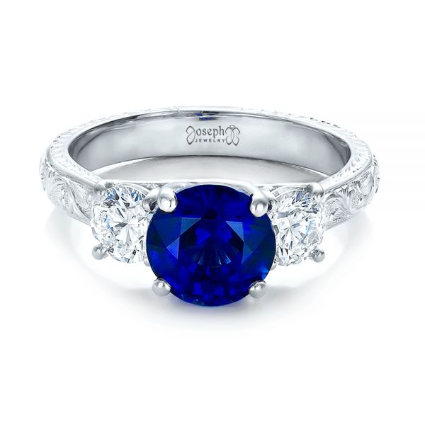 14K White Gold Custom Blue Sapphire and Diamond Anniversary Ring - Flat View -  100603 - Thumbnail