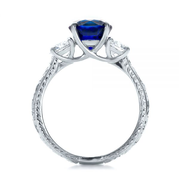 14K White Gold Custom Blue Sapphire and Diamond Anniversary Ring - Front View -  100603 - Thumbnail