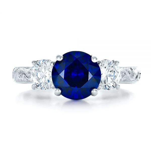 14K White Gold Custom Blue Sapphire and Diamond Anniversary Ring - Top View -  100603 - Thumbnail