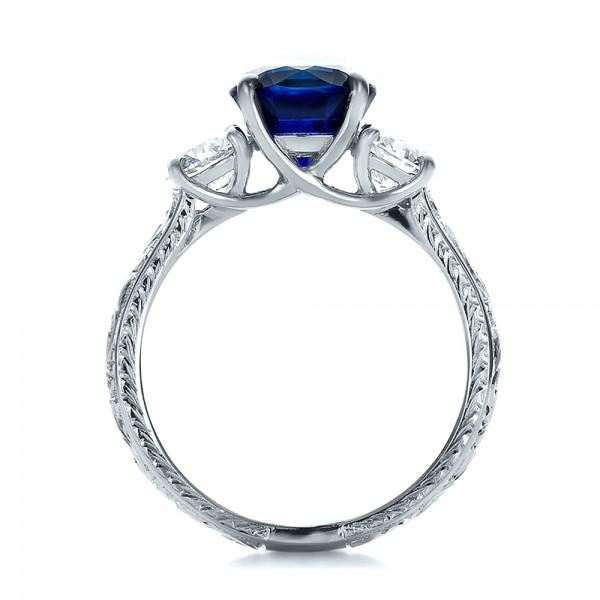 Custom Blue Sapphire and Diamond Anniversary Ring 100603