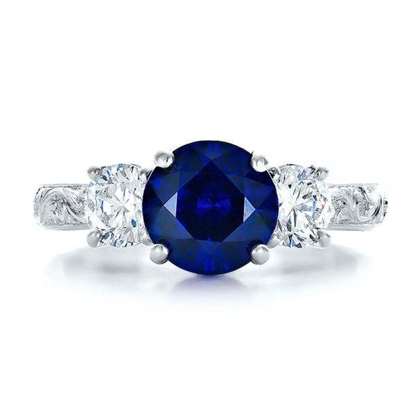 Custom Blue Sapphire and Diamond Anniversary Ring - Top View