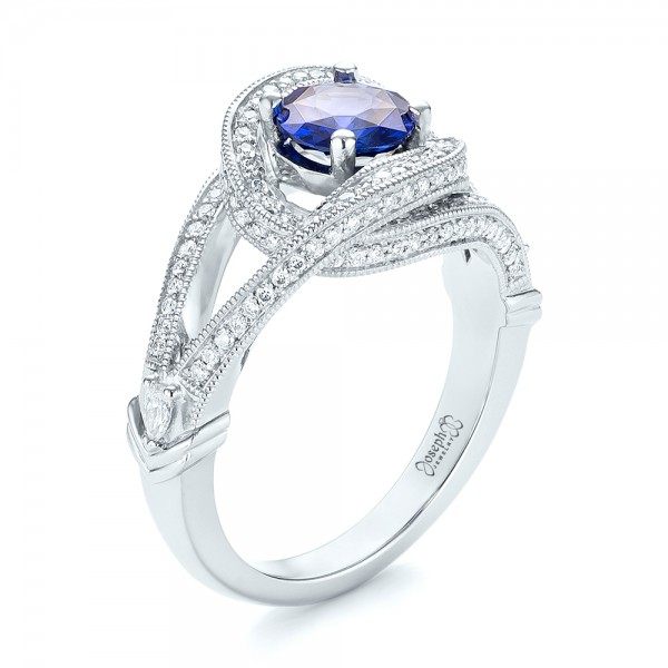 Custom Blue Sapphire and Diamond Engagement Ring - Image