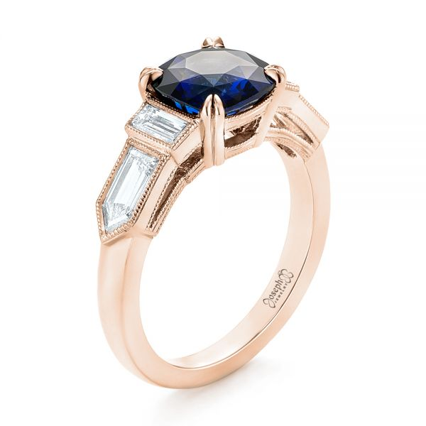 18k Rose Gold 18k Rose Gold Custom Blue Sapphire And Diamond Engagement Ring - Three-Quarter View -