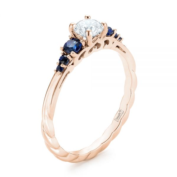 14k Rose Gold 14k Rose Gold Custom Blue Sapphire And Diamond Engagement Ring - Three-Quarter View -  103015